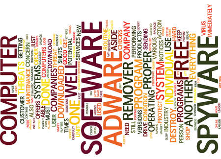 FREE SPYWARE ADWARE REMOVER Text Background Word Cloud Concept Illustration
