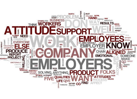 FIVE QUALITIES EMPLOYERS WANT Text Background Word Cloud Concept Illustration