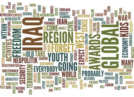 FORGET IRAN WHY IRAQ MUST BE SOLVED SOON Text Background Word Cloud Concept Illustration