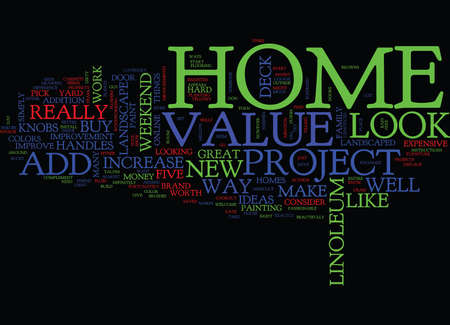 FIVE WEEKEND PROJECT IDEAS TO ADD VALUE TO YOUR HOME Text Background Word Cloud Concept