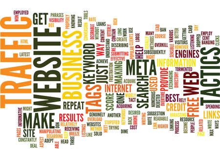 meta: FREE WEBSITE TRAFFIC TACTICS Text Background Word Cloud Concept