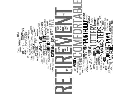 FIVE STEPS TO A COMFY RETIREMENT Text Background Word Cloud Concept