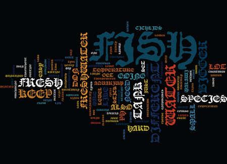 FRESHWATER AQUARIUM FISH Text Background Word Cloud Concept