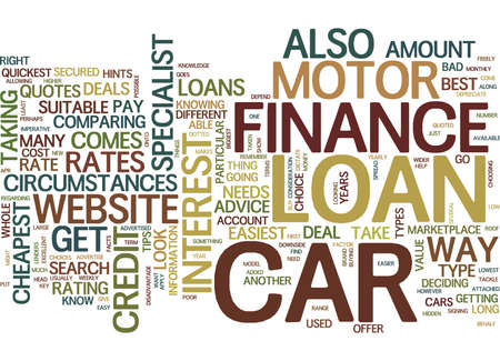 GET YOUR MOTOR CAR FINANCE THE EASY WAY Text Background Word Cloud Concept