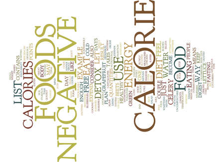 FREE LIST OF NEGATIVE CALORIE FOODS Text Background Word Cloud Concept
