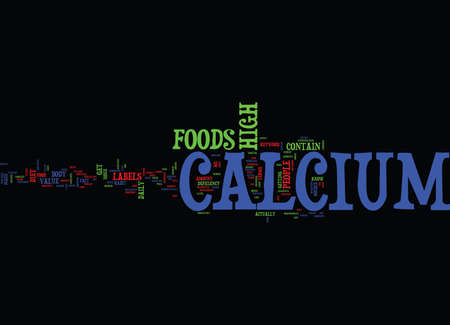 FOODS HIGH IN CALCIUM Text Background Word Cloud Concept