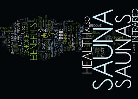 FROM SAVU TO INFRARED THE HISTORY AND HEALTH BENEFITS OF SAUNAS Text Background Word Cloud Concept