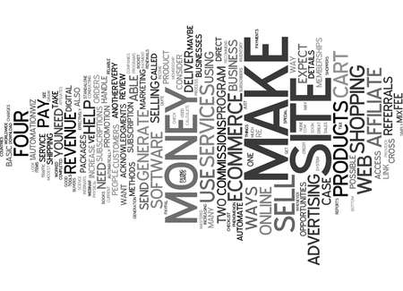 FOUR WAYS TO MAKE MONEY FROM YOUR ECOMMERCE WEBSITE Text Background Word Cloud Concept