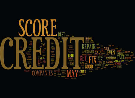 FIX CREDIT SCORE Text Background Word Cloud Concept Ilustração