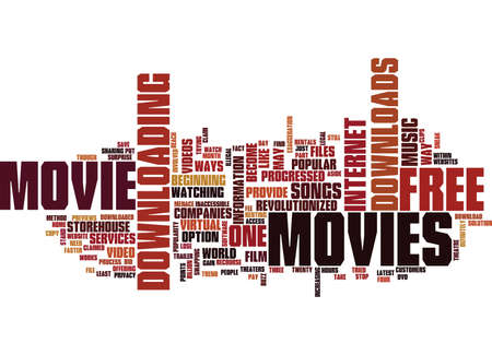 FREE MOVIE DOWNLOADS Text Background Word Cloud Concept Illustration