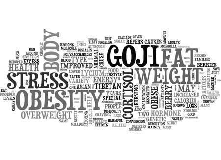 GOJI AND WEIGHT LOSS Text Background Word Cloud Concept