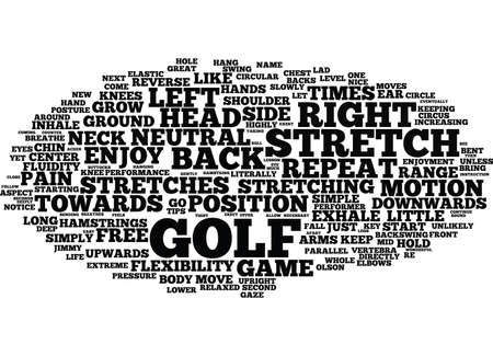 GOLF STRETCHES ENJOY A PAIN FREE GAME Text Background Word Cloud Concept Çizim