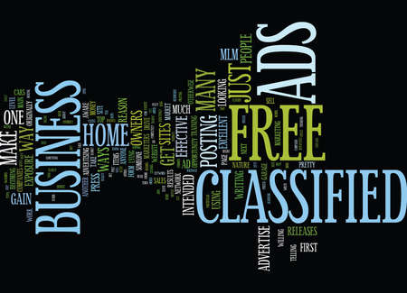 FREE CLASSIFIED ADS Text Background Word Cloud Concept Stock Vector - 82607035