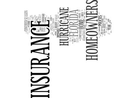 FLORIDA HOMEOWNERS INSURANCE COVERAGE Text Background Word Cloud Concept Illustration