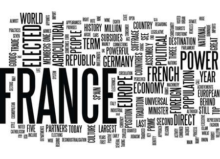 forefront: FRANCE AT THE FOREFRONT OF EUROPE Text Background Word Cloud Concept Illustration