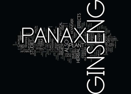 GINSENG PANAX Text Background Word Cloud Concept Çizim