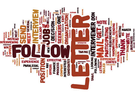 FOLLOW UP LETTERS WIN JOB OFFERS Text Background Word Cloud Concept