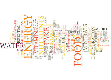 FOOD FOR POTENTIAL ENERGY Text Background Word Cloud Concept