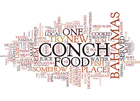 FOOD IN THE BAHAMAS Text Background Word Cloud Concept Çizim