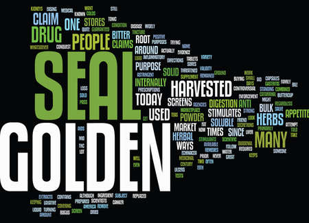 GOLDEN SEAL Text Background Word Cloud Concept