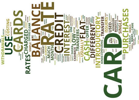 FLAT RATE CREDIT CARDS Text Background Word Cloud Concept