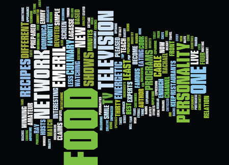 FOOD ON TV Text Background Word Cloud Concept