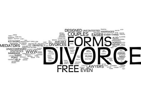 FREE DIVORCE FORMS Text Background Word Cloud Concept