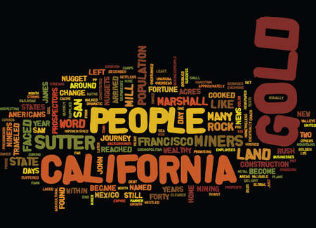 GOLD FEVER AND THE GROWTH OF CALIFORNIA Text Background Word Cloud Concept