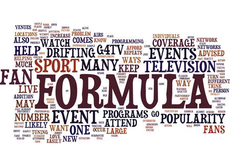FORMULA D FANS SHOW YOUR SUPPORT FOR THE SPORT Text Background Word Cloud Concept