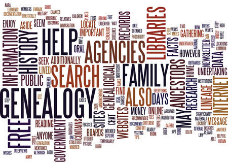 FREE GENEALOGY SEARCH SITE Text Background Word Cloud Concept