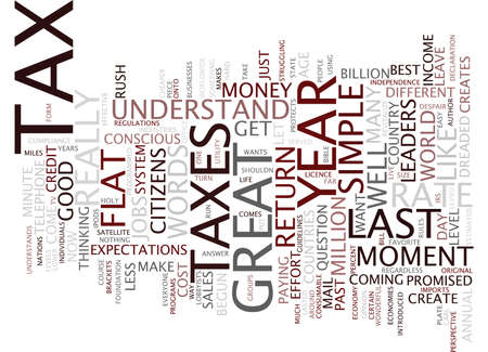 levied: FLAT TAX IT COULD WORK Text Background Word Cloud Concept
