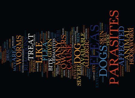 FLEAS AND OTHER PARASITES Text Background Word Cloud Concept Ilustração