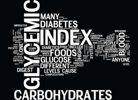 GLYCEMIC INDEX Text Background Word Cloud Concept Çizim