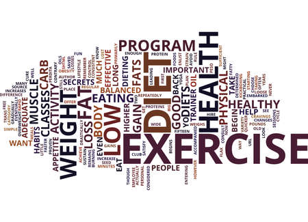 GOOD HEALTH BEGINS WITH DIET AND EXERCISE Text Background Word Cloud Concept