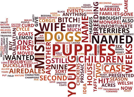 GONE TO THE DOGS WITH ADORABLE AIREDALES Text Background Word Cloud Concept Illustration