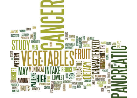 FRUIT VEGETABLES MAY REDUCE PANCREATIC CANCER RISK Text Background Word Cloud Concept