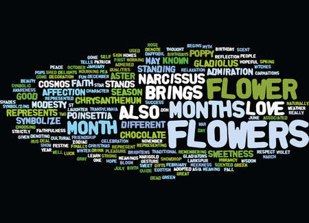 FLOWERS OF THE MONTHS Text Background Word Cloud Concept