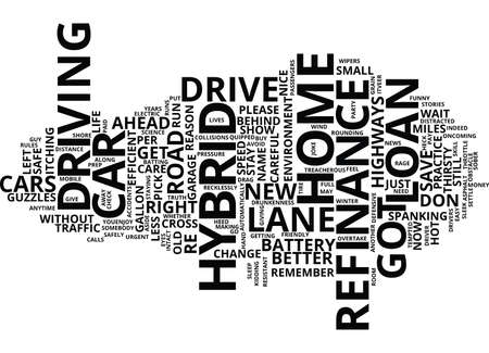 aside: GOT A HYBRID CAR WITH A REFINANCE HOME LOAN DRIVE EASY Text Background Word Cloud Concept