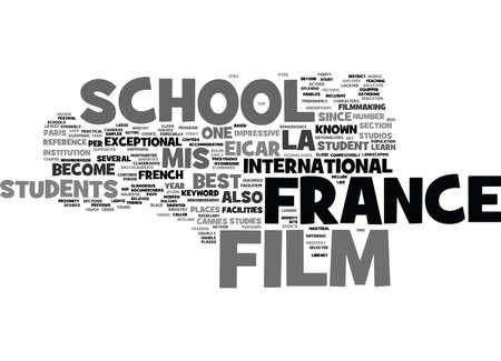 프랑스 영화 학교 텍스트 배경 단어 구름 개념 일러스트