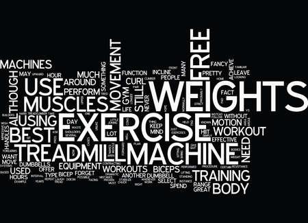 무료 체중 대 기계 운동 텍스트 배경 워드 클라우드 개념