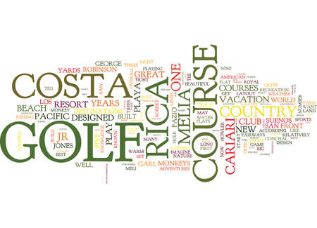 GOLF IN THE WILD Text Background Word Cloud Concept Çizim