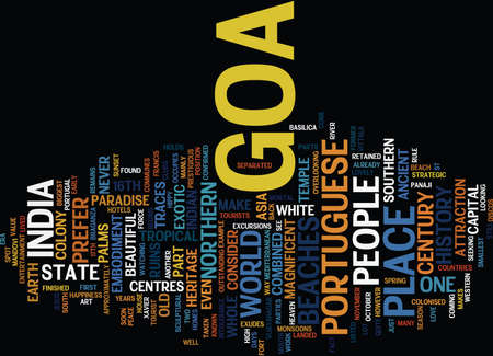 GOA IN NOVEMBER Text Background Word Cloud Concept