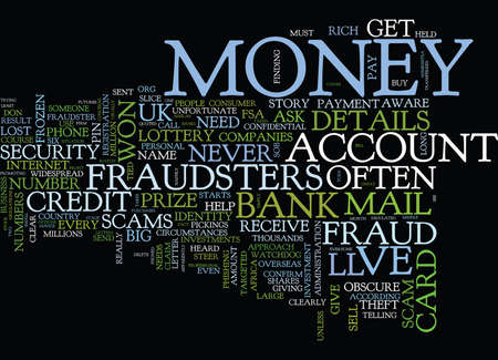 FRAUD BEWARE OF THE FRAUDSTERS Text Background Word Cloud Concept