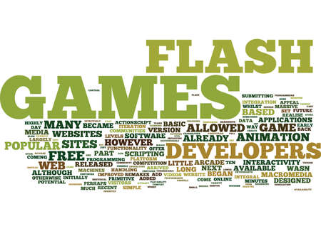 FLASH GAMES Text Background Word Cloud Concept