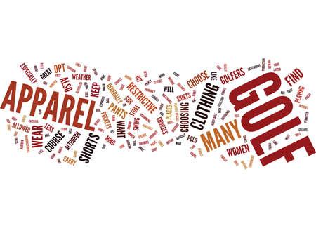 khaki: GOLF APPAREL Text Background Word Cloud Concept Illustration