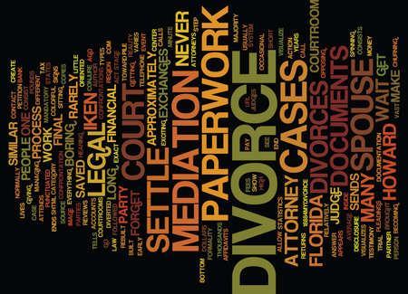 FORGET DIVORCE COURT MOST FLORIDA DIVORCES NEVER MAKE IT TO COURT Text Background Word Cloud Concept