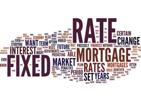FIXED RATE MORTGAGES KNOW YOUR RATE Text Background Word Cloud Concept