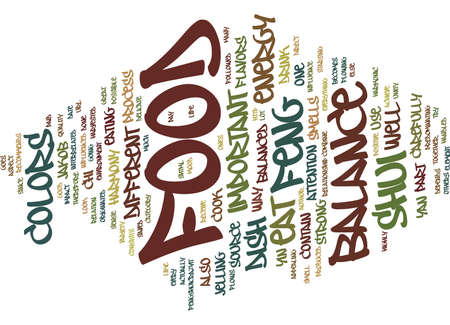 FOOD AND FENG SHUI Text Background Word Cloud Concept Illustration