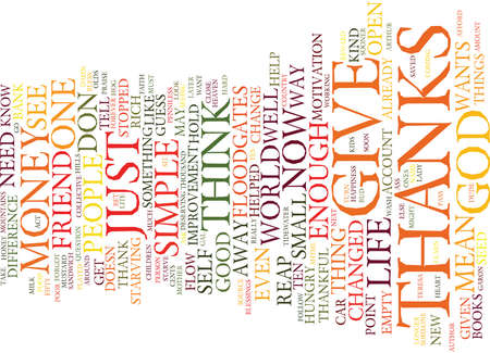 GIVE THANKS DAMN IT Text Background Word Cloud Concept