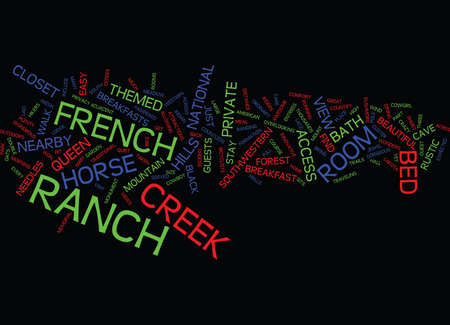 FRENCH CREEK RANCH Text Background Word Cloud Concept